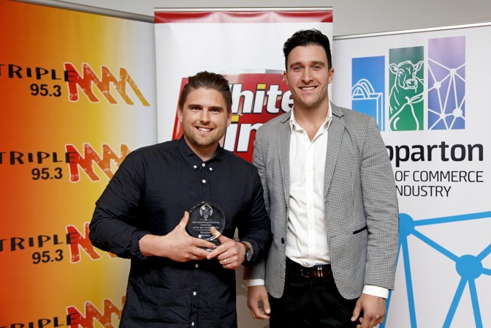 SSM Deputy Chair Shane Sali pictured with the 2017 award winner Heath Nicholson of Nicholson Builders.