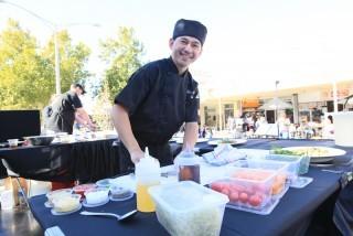 Chef Lebe Luzuriaga, The Lemon Tree, preparing Mums dish.